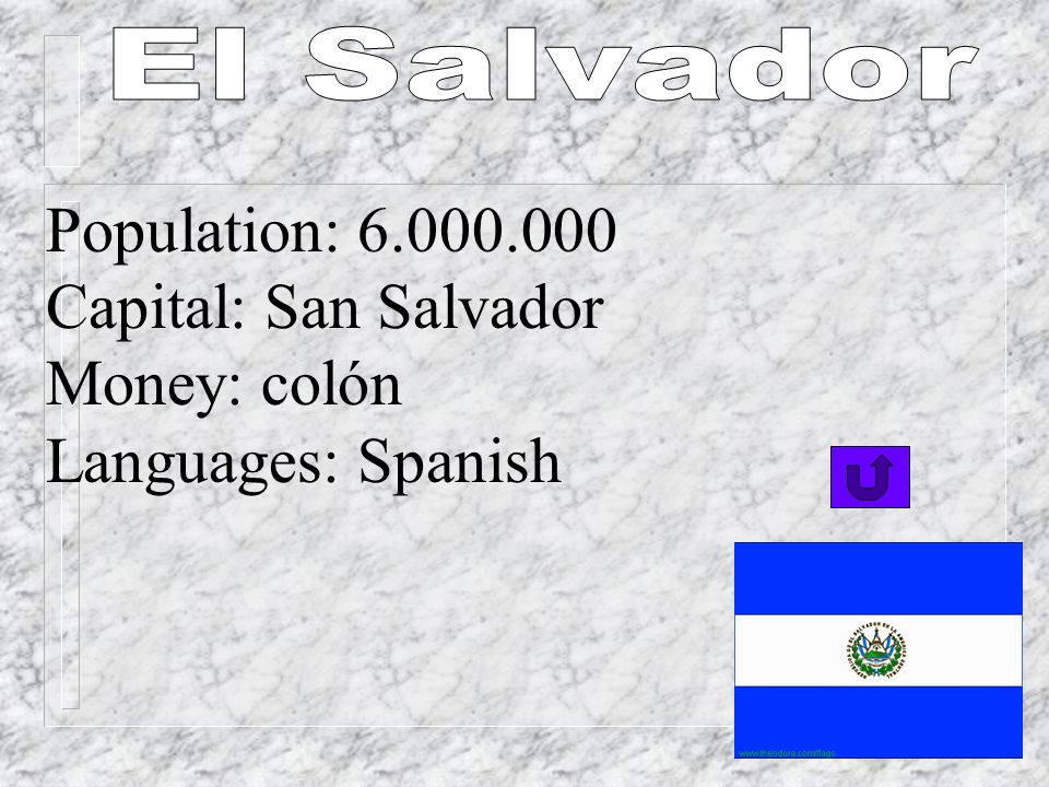 Population: 6.000.000 Capital: San Salvador Money: colón