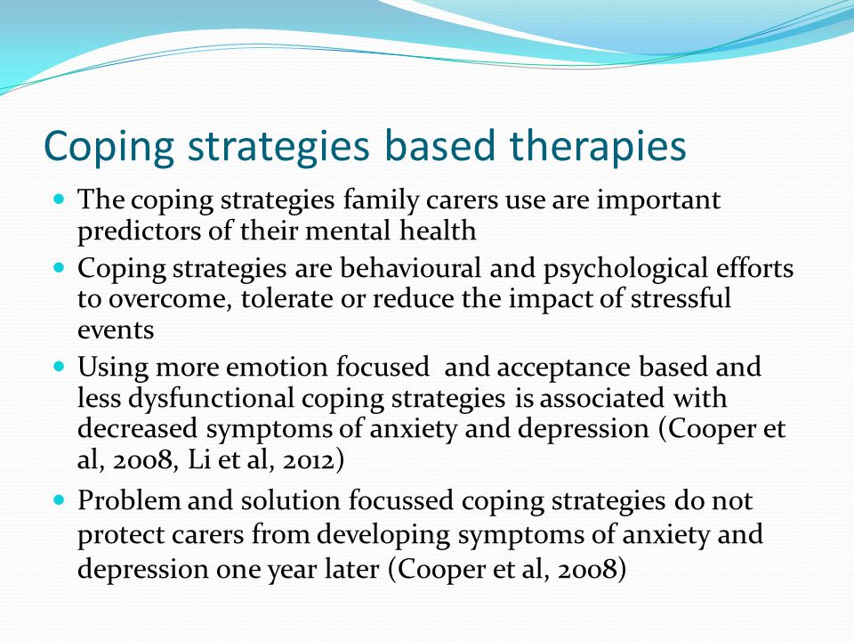 Coping strategies based therapies