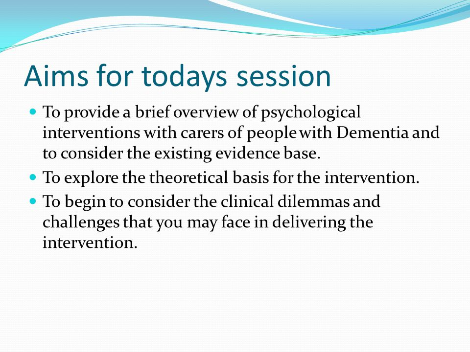 Aims for todays session