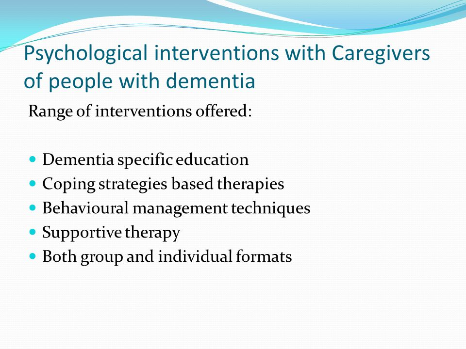 Psychological interventions with Caregivers of people with dementia