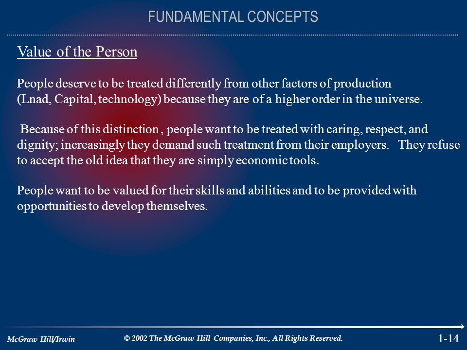 FUNDAMENTAL CONCEPTS Value of the Person
