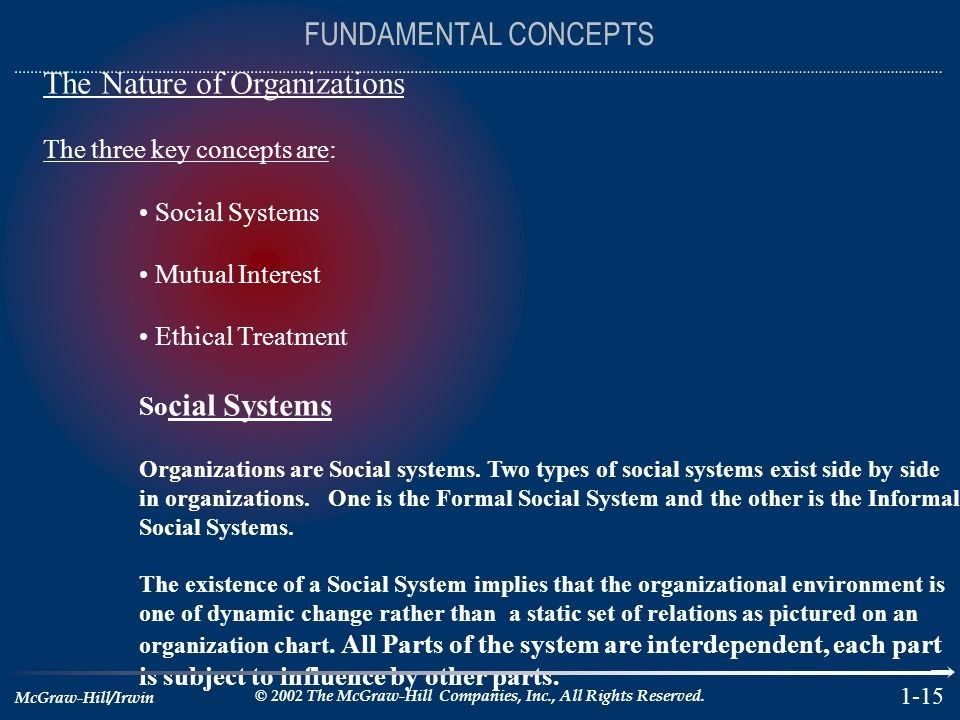 The Nature of Organizations The three key concepts are: