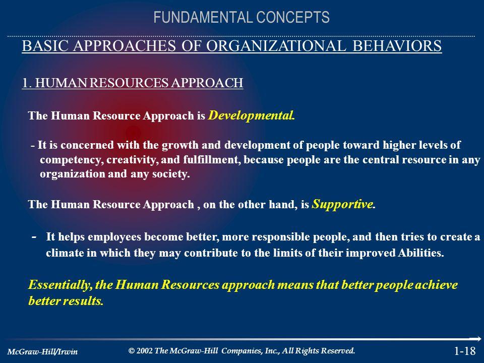 BASIC APPROACHES OF ORGANIZATIONAL BEHAVIORS