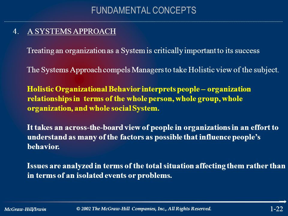 FUNDAMENTAL CONCEPTS A SYSTEMS APPROACH