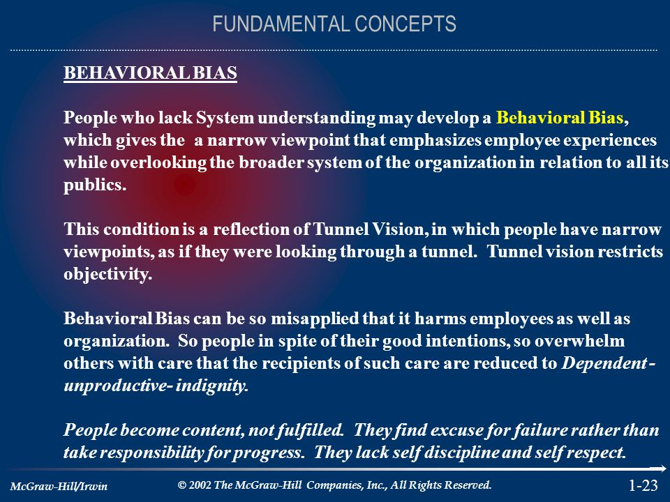 FUNDAMENTAL CONCEPTS BEHAVIORAL BIAS
