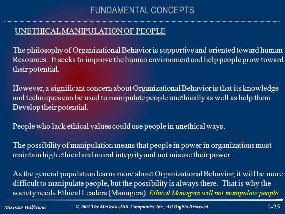 FUNDAMENTAL CONCEPTS UNETHICAL MANIPULATION OF PEOPLE