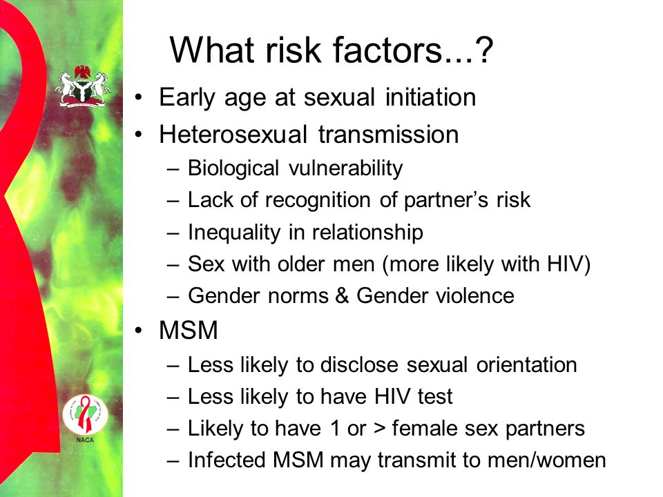 What risk factors... Early age at sexual initiation