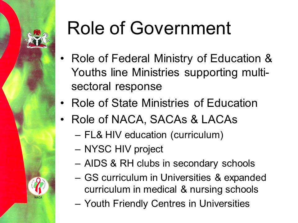 Role of Government Role of Federal Ministry of Education & Youths line Ministries supporting multi-sectoral response.