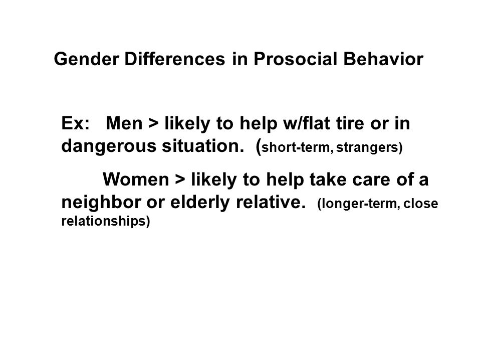 Gender Differences in Prosocial Behavior