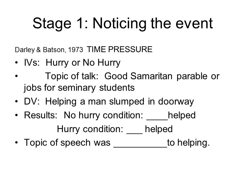 Stage 1: Noticing the event