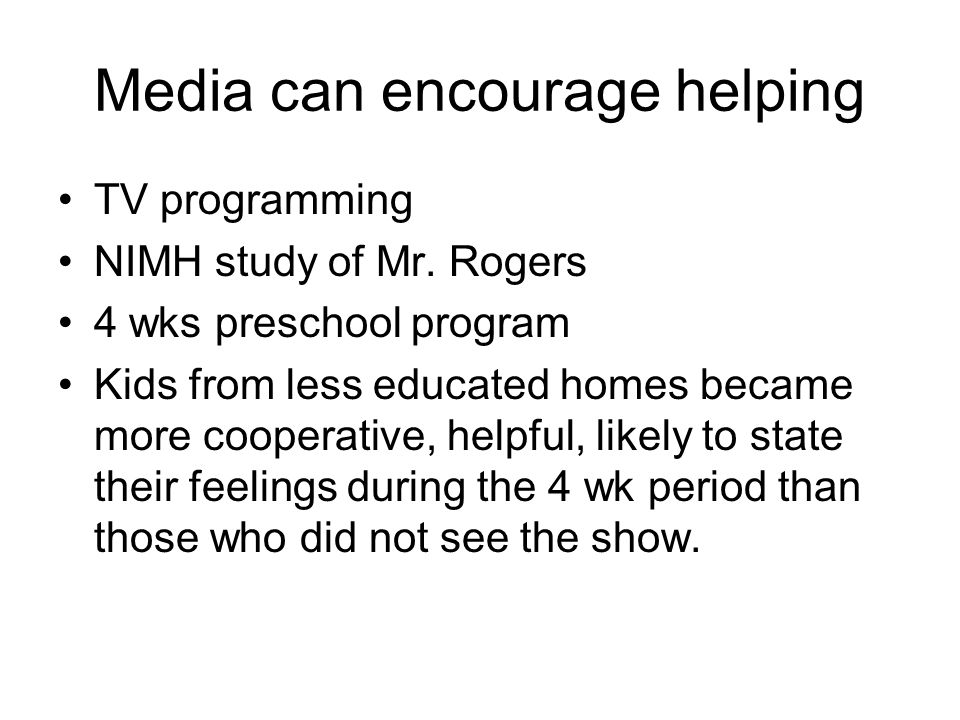Media can encourage helping