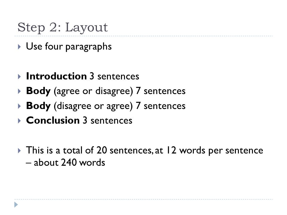 Step 2: Layout Use four paragraphs Introduction 3 sentences
