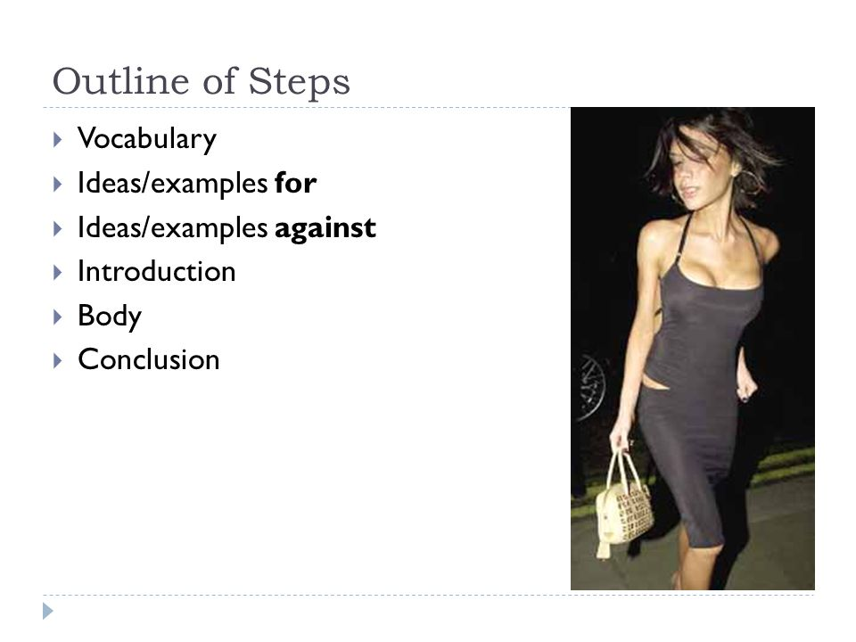 Outline of Steps Vocabulary Ideas/examples for Ideas/examples against