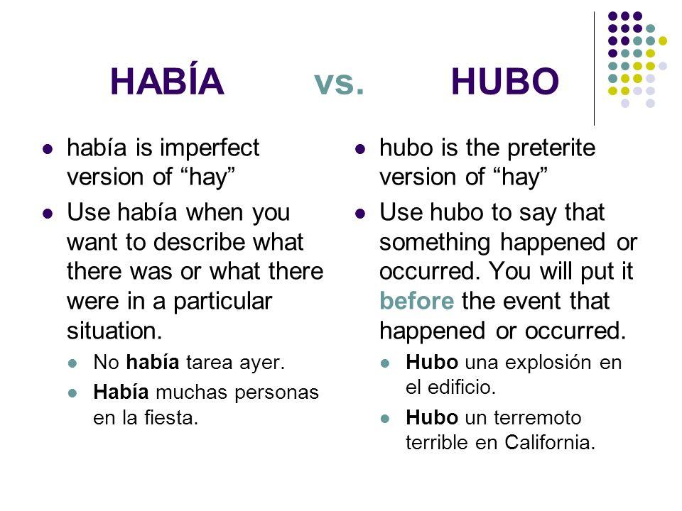 HABÍA vs. HUBO había is imperfect version of hay