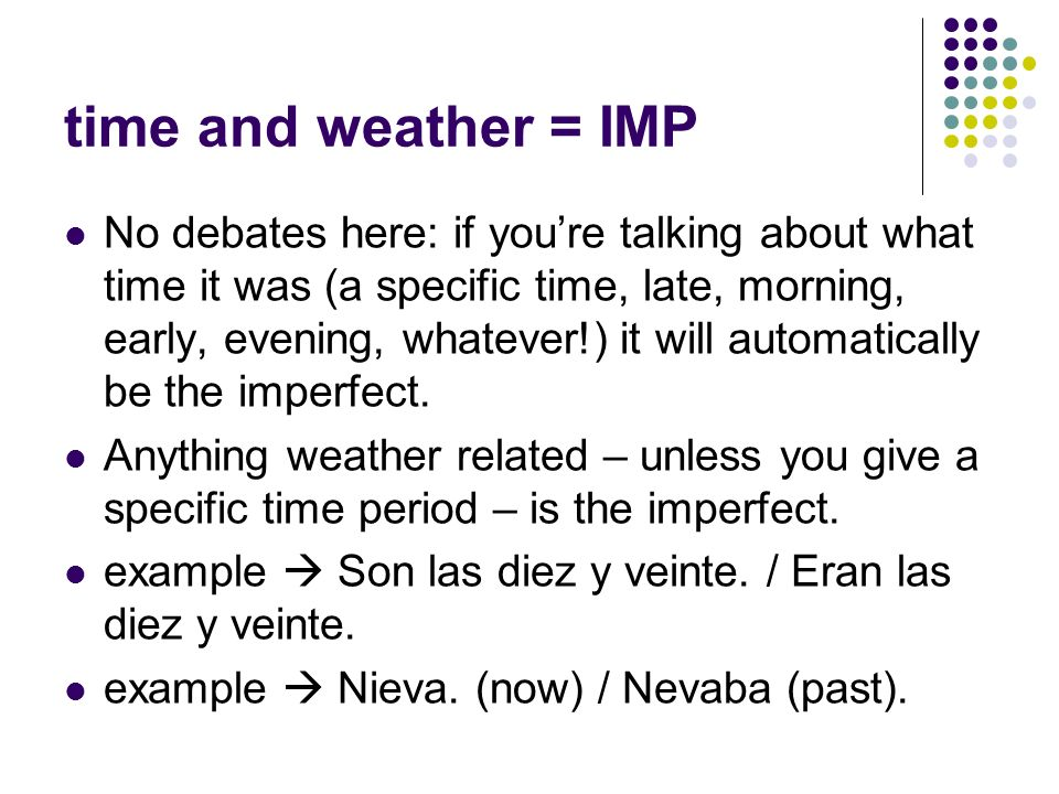 time and weather = IMP