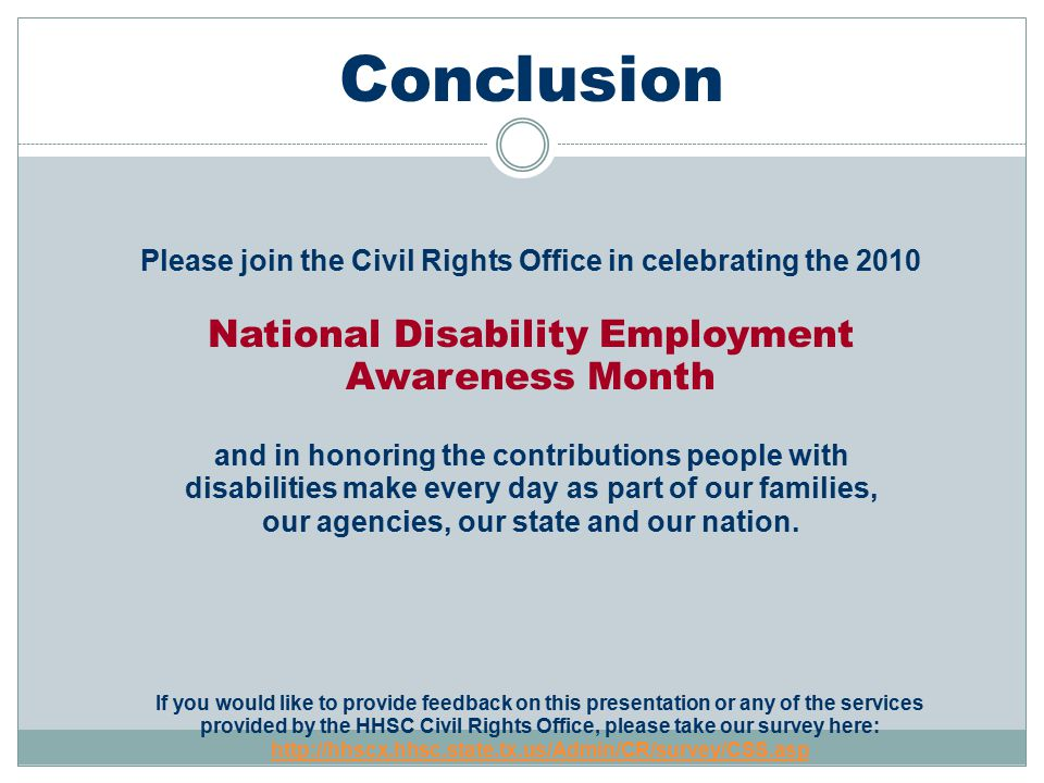 Conclusion National Disability Employment Awareness Month