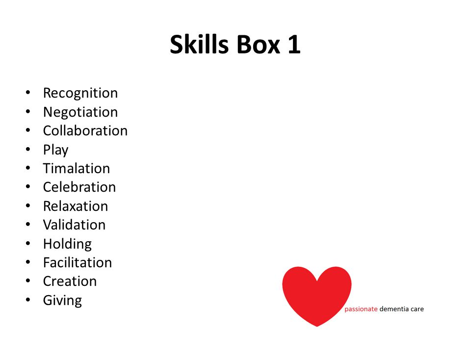 Skills Box 1 Recognition Negotiation Collaboration Play Timalation