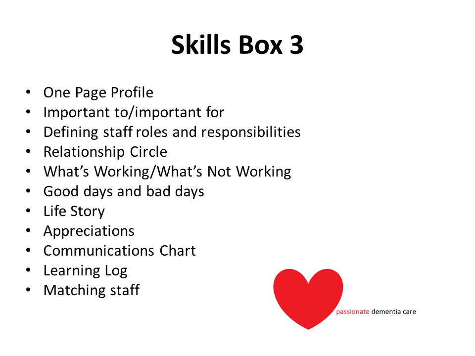 Skills Box 3 One Page Profile Important to/important for