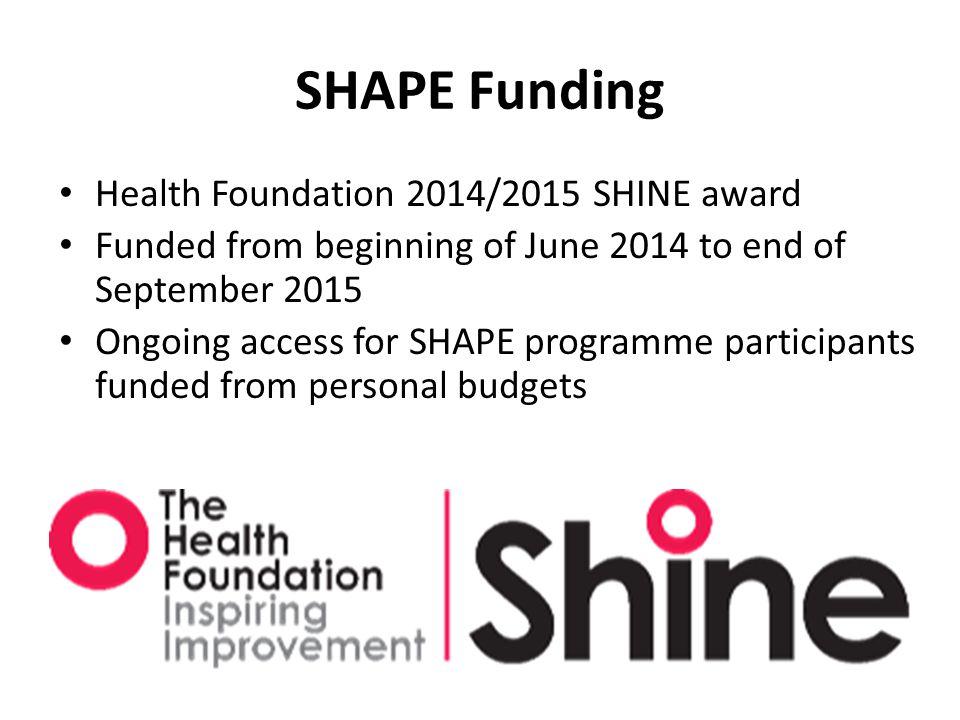 SHAPE Funding Health Foundation 2014/2015 SHINE award