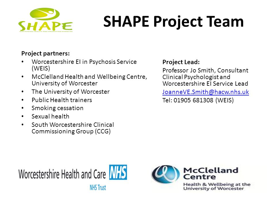 SHAPE Project Team Project partners: