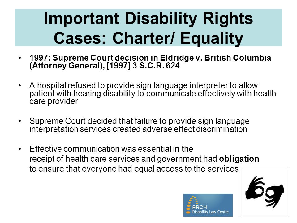 Important Disability Rights Cases: Charter/ Equality