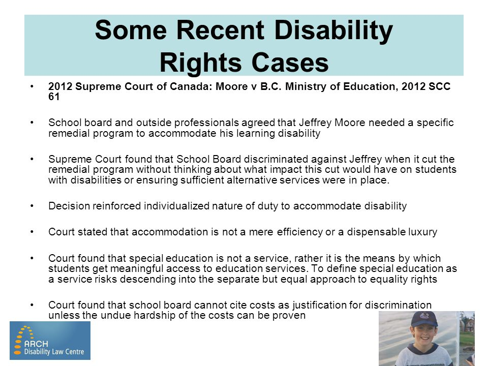 Some Recent Disability Rights Cases