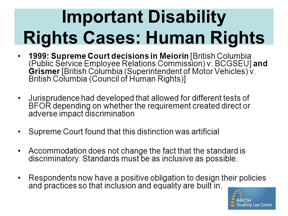 Important Disability Rights Cases: Human Rights