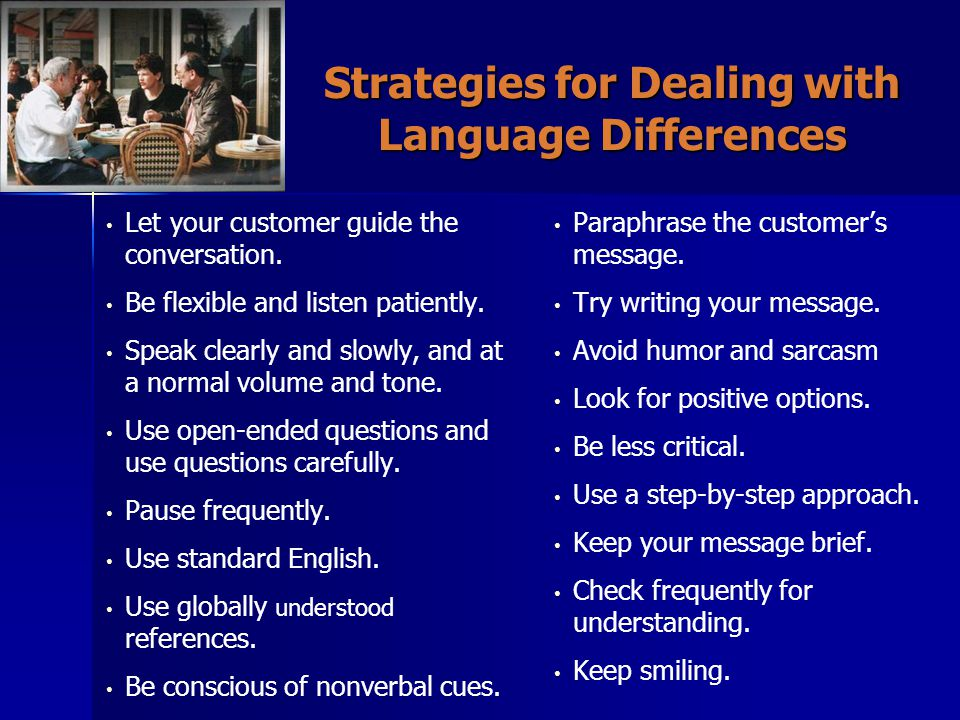 Strategies for Dealing with Language Differences