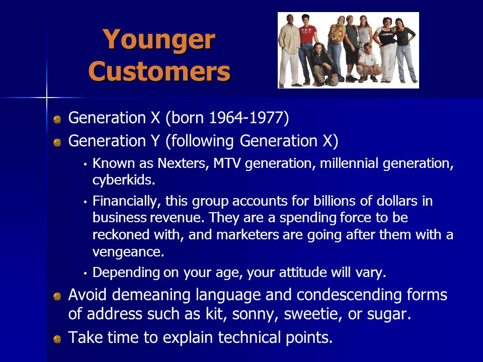 Younger Customers Generation X (born )