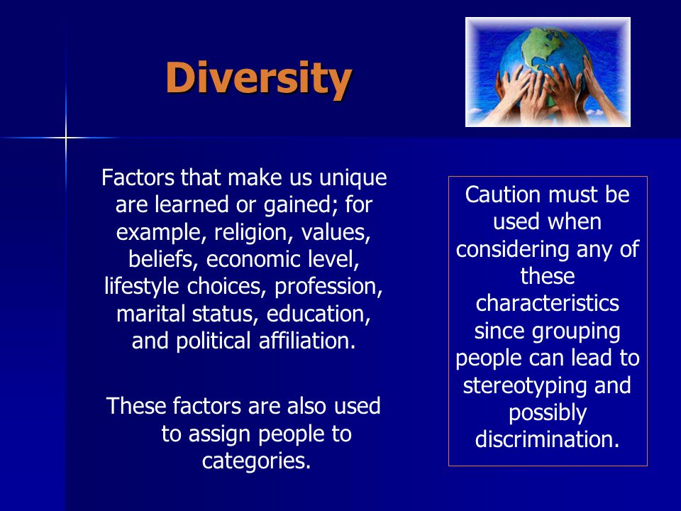 These factors are also used to assign people to categories.