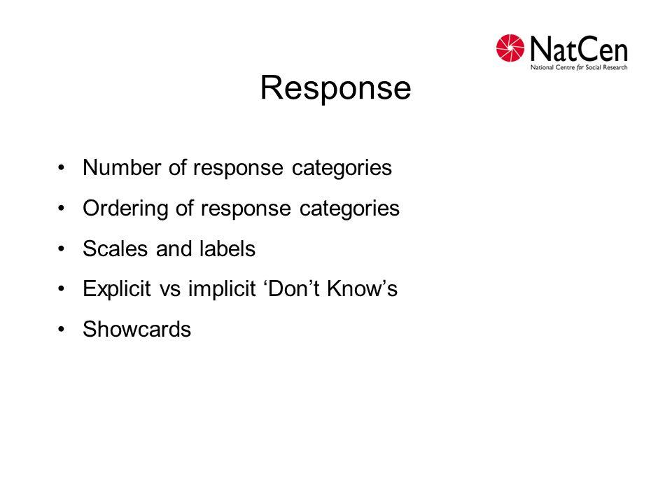 Response Number of response categories Ordering of response categories