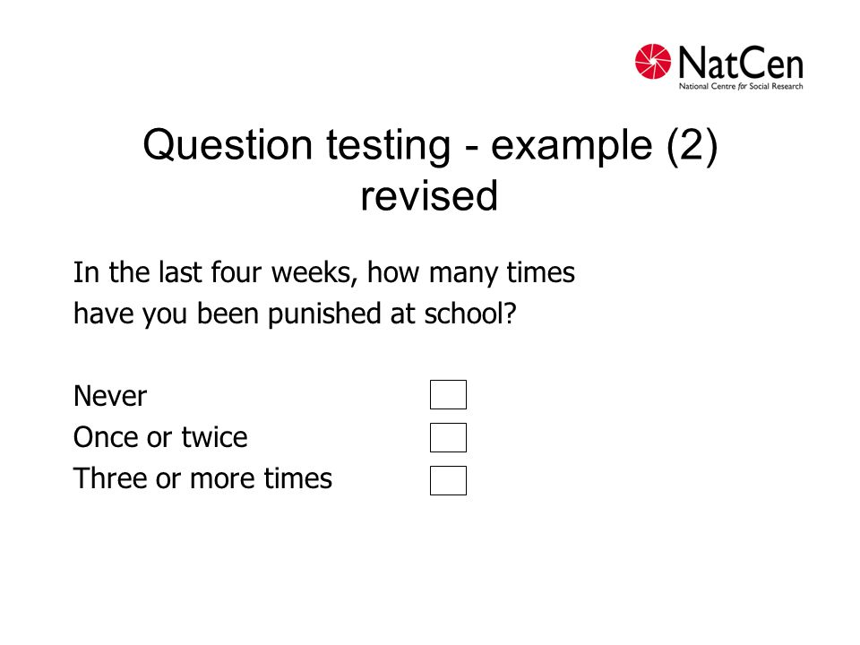 Question testing - example (2) revised