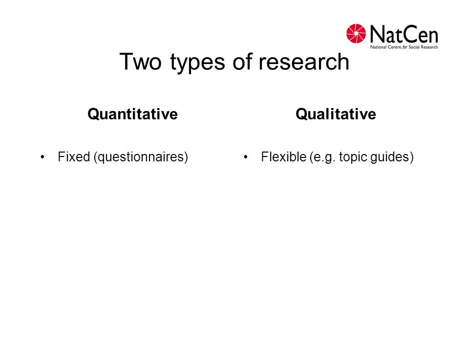 Two types of research Quantitative Qualitative Fixed (questionnaires)