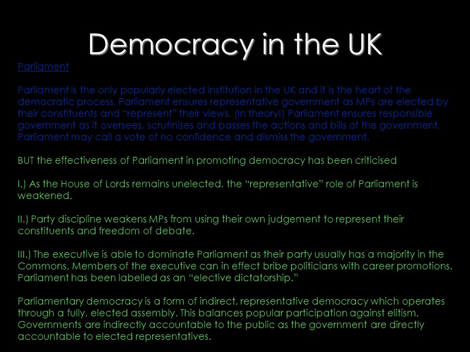 Democracy in the UK Parliament