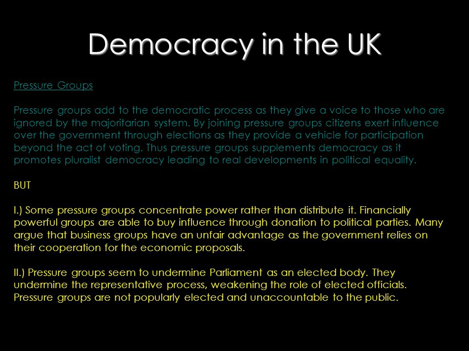 Democracy in the UK Pressure Groups