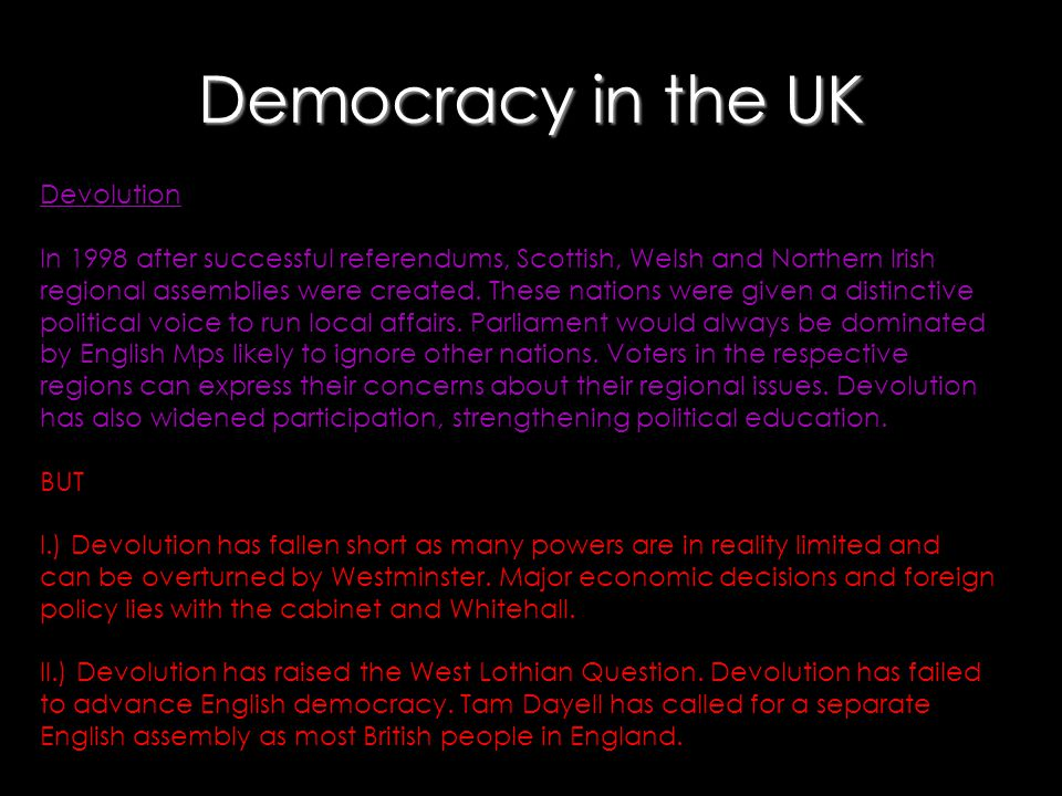 Democracy in the UK Devolution