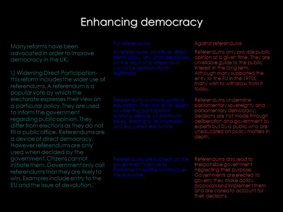 Enhancing democracy For referendums. Against referendums.