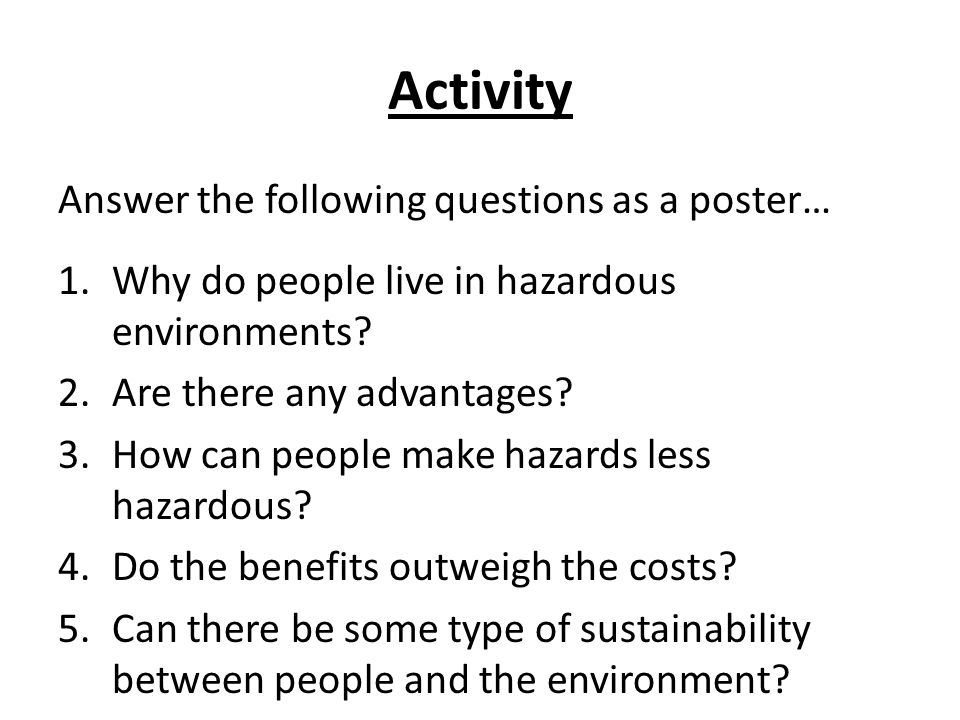 Activity Answer the following questions as a poster…