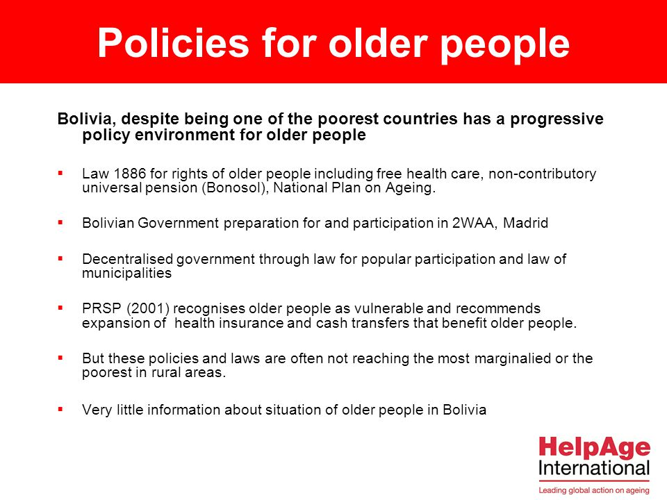 Policies for older people