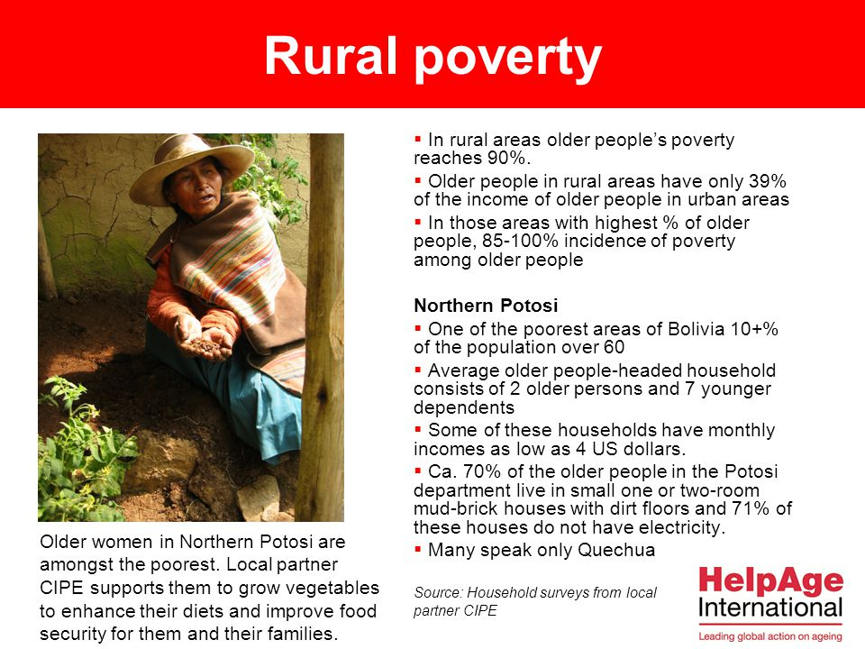 Rural poverty In rural areas older people's poverty reaches 90%.