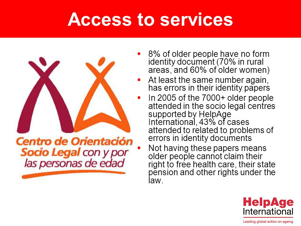 Access to services 8% of older people have no form identity document (70% in rural areas, and 60% of older women)