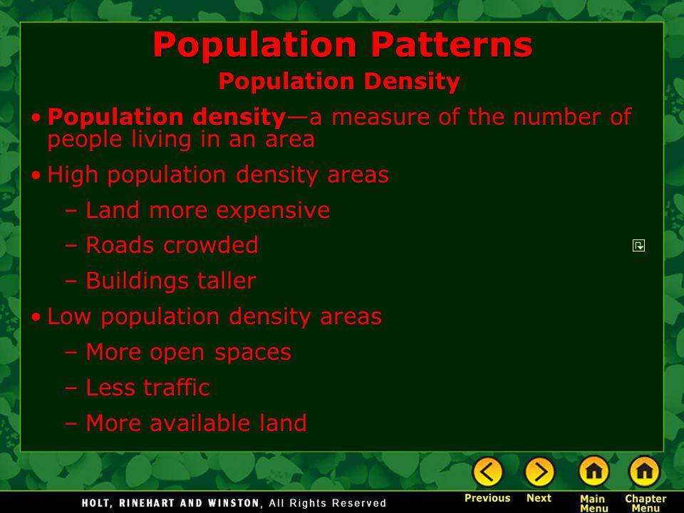 Population Patterns Population Density