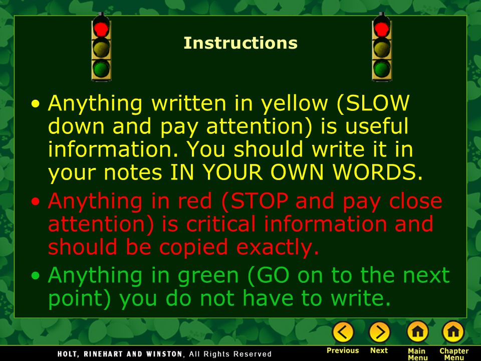 Anything in green (GO on to the next point) you do not have to write.
