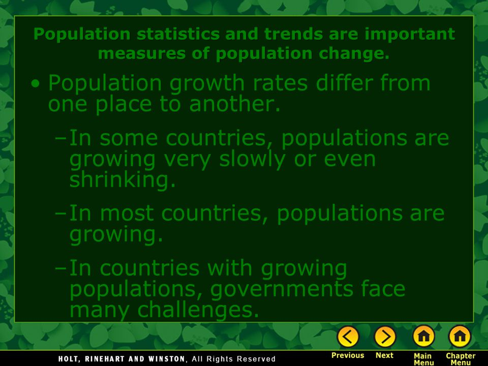Population growth rates differ from one place to another.