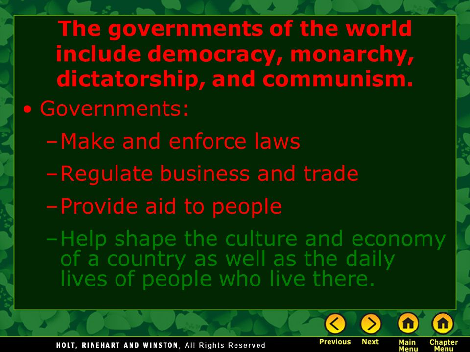 The governments of the world include democracy, monarchy, dictatorship, and communism.