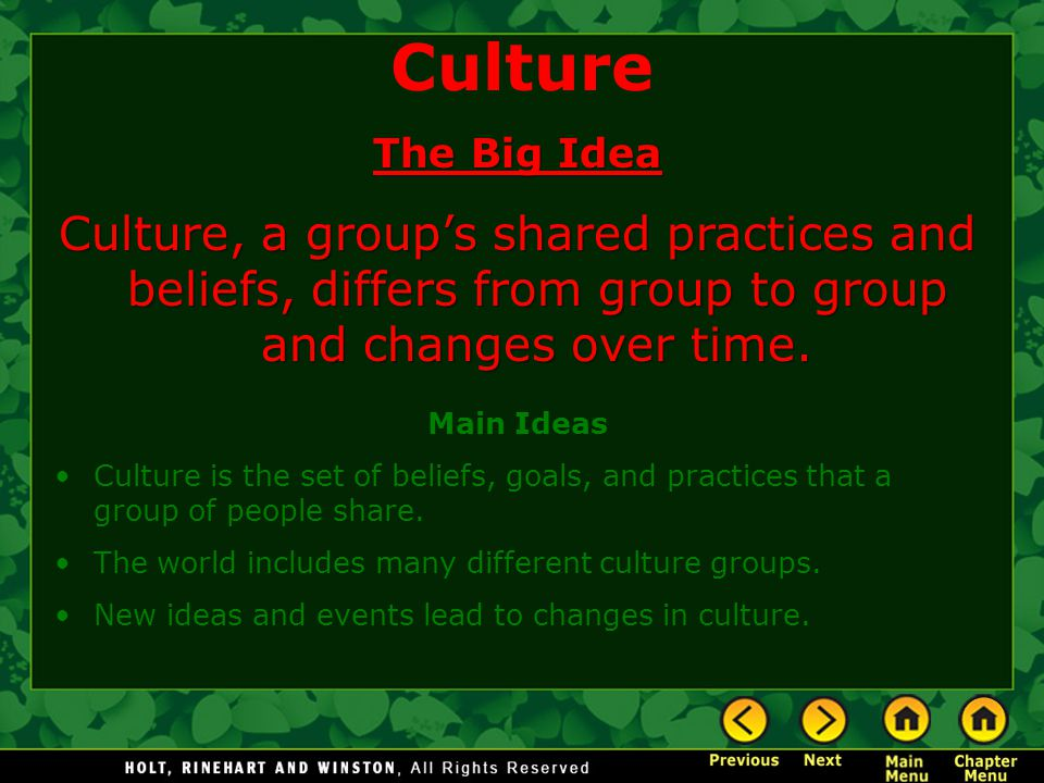 Culture The Big Idea. Culture, a group's shared practices and beliefs, differs from group to group and changes over time.