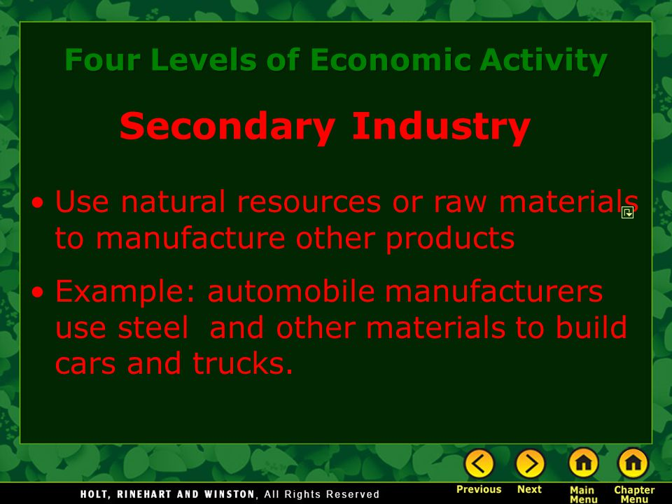 Four Levels of Economic Activity