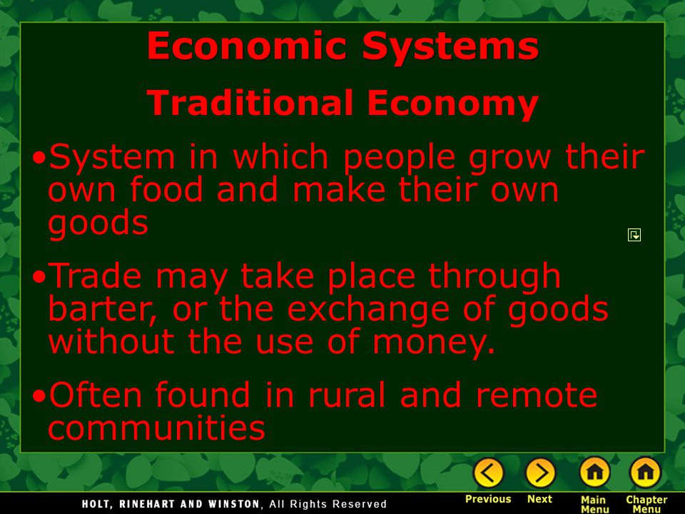 Economic Systems Traditional Economy