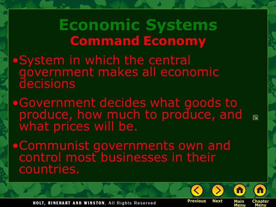 Economic Systems Command Economy