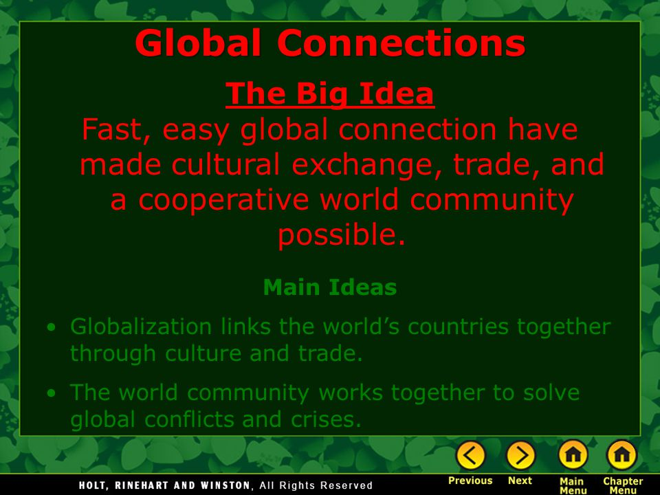 Global Connections The Big Idea